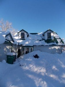 After the snow storm, there is actually a driveway between the black horse head peaking out of the snowbank and the house. Much more snow and I won't have any west window anymore.