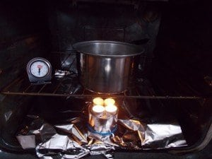 wtealight in stove