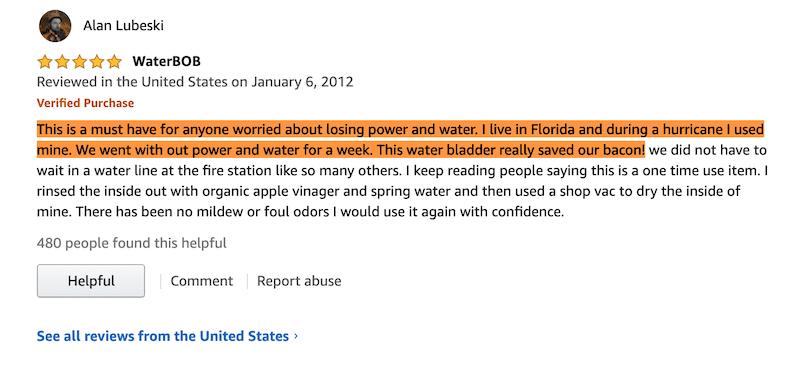 Used WaterBob in Florida Hurricane